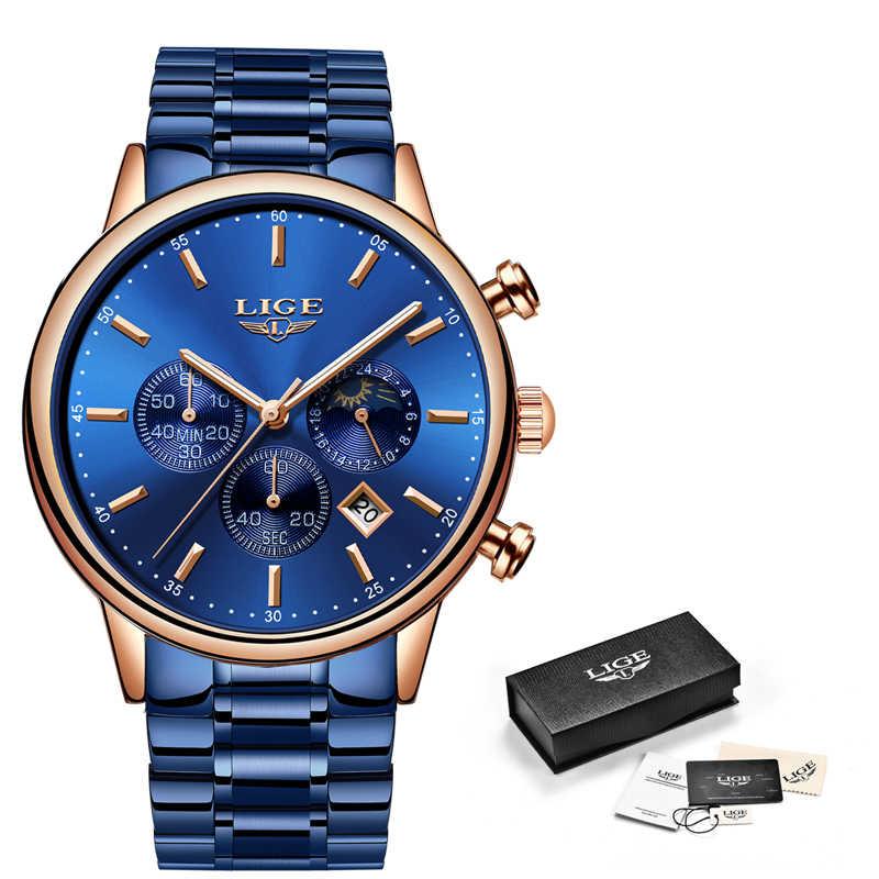 2019 LIGE nuevo reloj de cuarzo azul para hombre, a la moda, de negocios, resistente al agua, reloj de acero para hombre, gran esfera, cronógrafo y caja multifunción