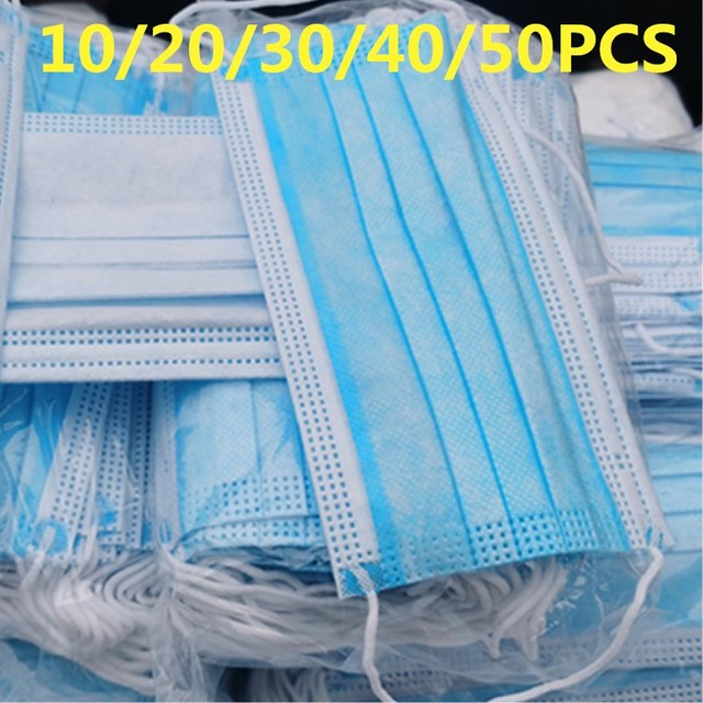 10/20/50Pcs/Pack 3-Layer Non-woven Disposable Elastic Mouth Soft Breathable Flu Hygiene Face As KN95 KF94 Disposable Mask