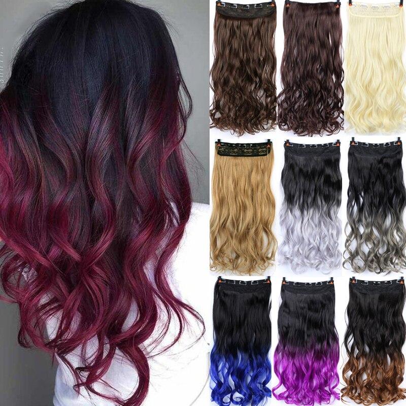 DIANQI длинные волнистые волосы высокая температура волокна синтетические волосы 5 клипсов в Омбре черные красные волосы для наращивания для женщин