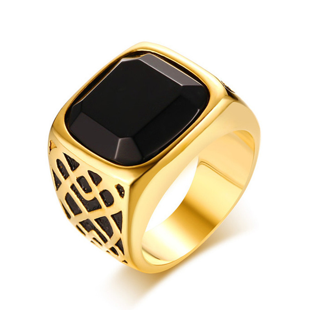 Big Square Black Agate Gemstonse Rings For Men Gold Color Titanium Stainless Steel Luxury Masculine Fashion Solid Jewelry Bague