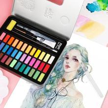 Goingione36/48 color solid watercolor paint set portable metal box watercolor paint, beginner painting watercolor paper supplies