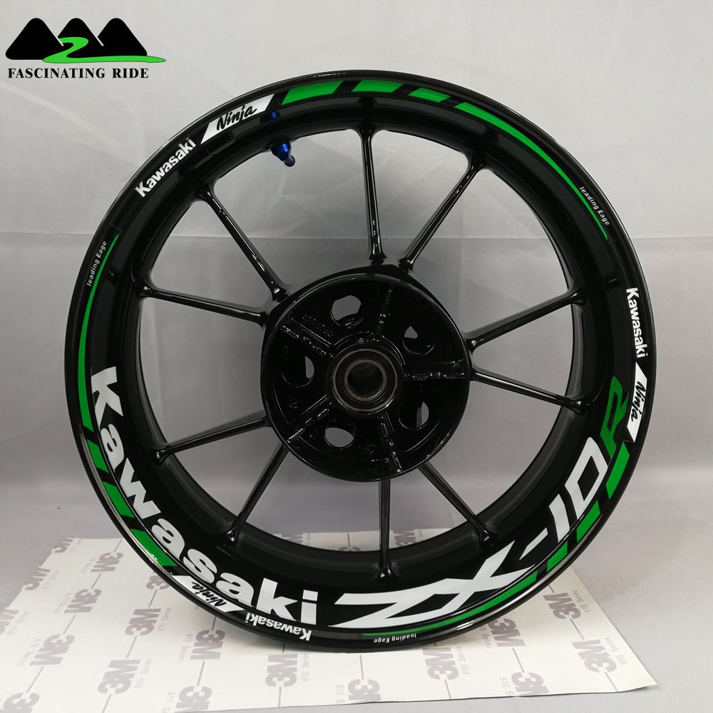Applicable To Kawasaki ZX-6R ZX-10R ZX-14R Motorcycle Wheel Sticker, Waterproof Reflective Front And Back  Rim Sticker,