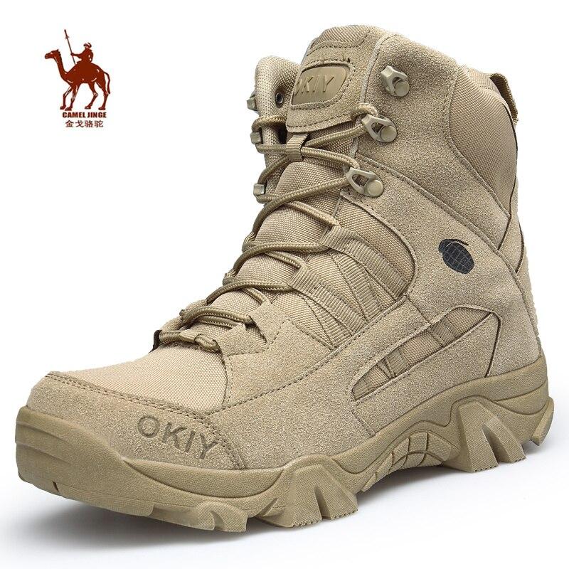 CAMEL JINGE/Военные тактические ботинки на молнии; мужские уличные ботинки в стиле джунглей, пустыни, на платформе; треккинговые ботинки; кожаные...