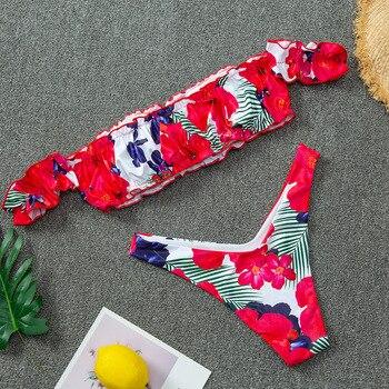 Off Shoulder Thong Bikini 2020 Sexy Floral Print Swimwear Women Bathers High Cut Ruffle Brazilian Swimsuit Female Bathing Suit 3