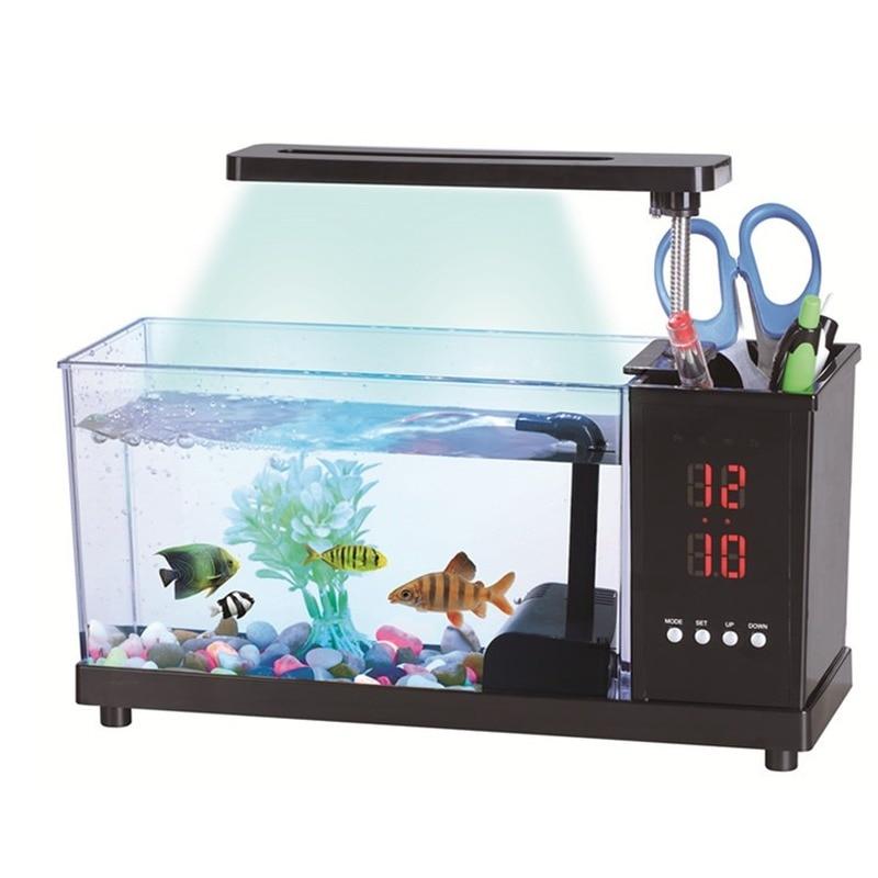 Nouveau Aquarium d'aquarium multifonction USB Aquarium avec écran d'affichage à cristaux liquides de lumière de lampe à LED et Aquarium d'horloge