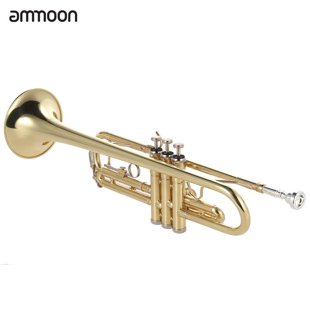 Ammoon Bb труба плоская латунь позолоченный Изысканный прочный музыкальный инструмент с мундштуком перчатки ремень Чехол