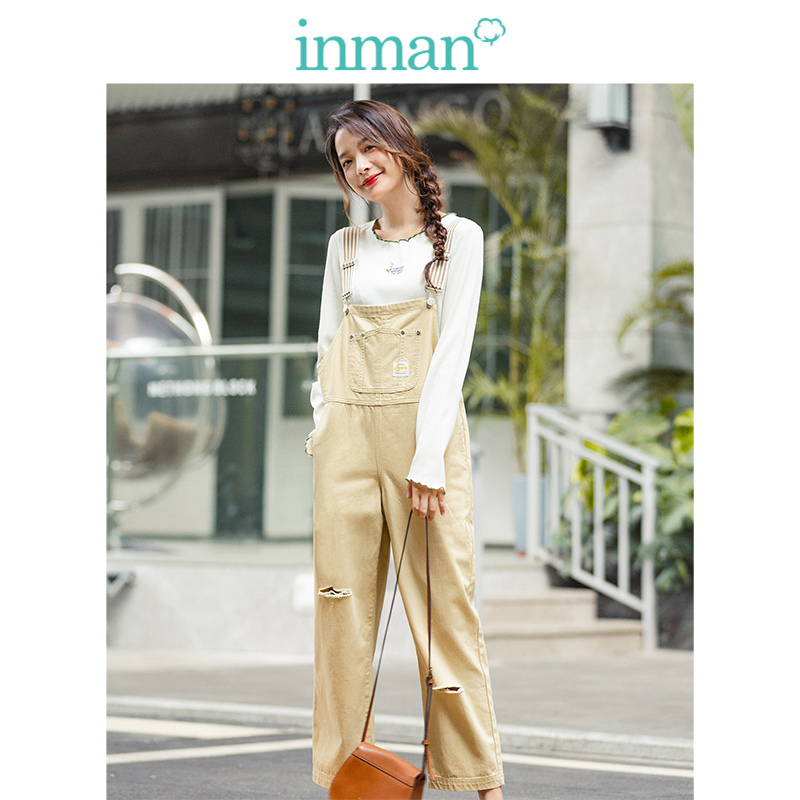 INMAN 2020 Spring New Arrival 100%Cotton Striped Young Loose Slim Ripped Women Dungarees