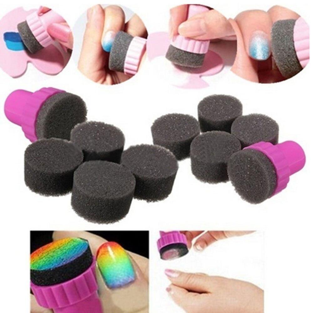 1 Set Nail Art Sponge Stamp Stamping UV Gel Polish Template Manicure Transfer For DIY Deco Design Kit Set Tools Stampers