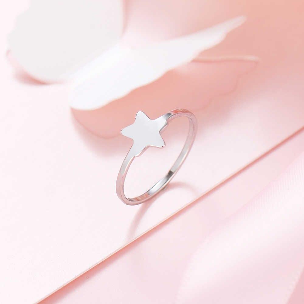 CACANA paslanmaz çelik yüzük kadınlar için aşk Pentagram nişan alyanslar aksesuarları Anillos Mujer Bague takı hediye