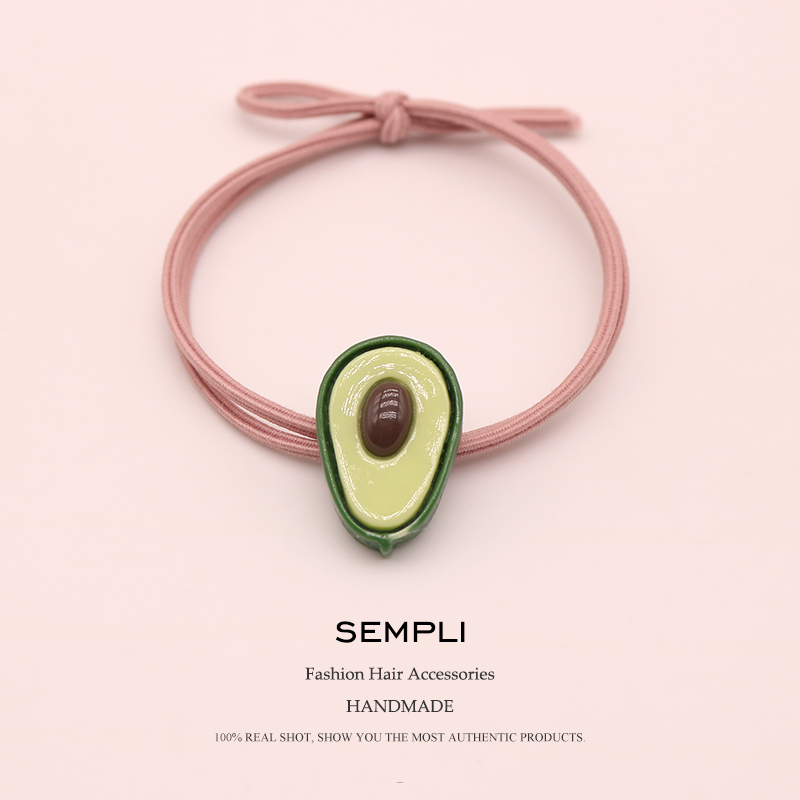 Sempli High Elasticity Nylon Elastic Hair Bands Avocado Fruit Ponytail For Women Girls Hair Band Baby Girl Headbands Accessories