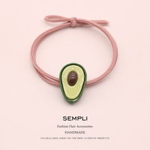 Sempli High Elasticity Nylon Elastic Hair Bands Avocado Fruit Ponytail For Women Girls Hair Band Baby Girl Headbands Accessories(China)