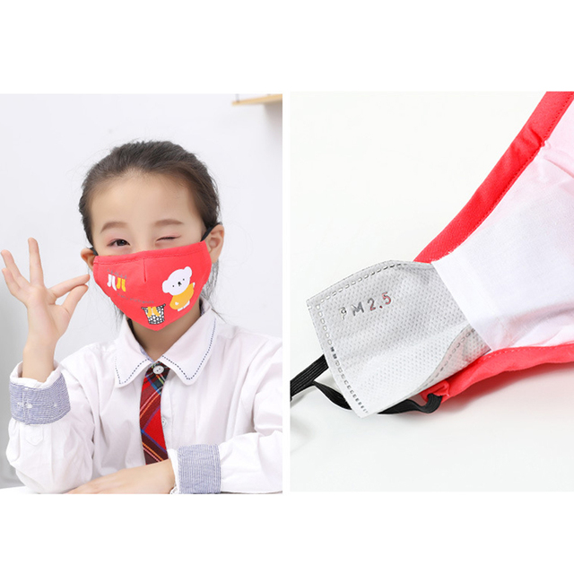 Kids Children Cotton Anti-Dust Face Mouth Mask Cartoon PM2.5 Protective Respirator Reusable Anti Fog Anti Flu Masks with Filters 4