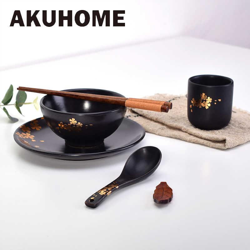 Conjuntos de Placas De cerâmica Estilo Japonês Louça Conjuntos de Jantar de Porcelana Tigela Prato Colher de Sopa Copo com Padrão de flores de Cerejeira