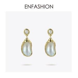 Image 3 - Enfashionヴィンテージ大きな巻き貝女性ゴールドカラーナチュラル母の真珠のイヤリングファッションジュエリーoorbellen E191024