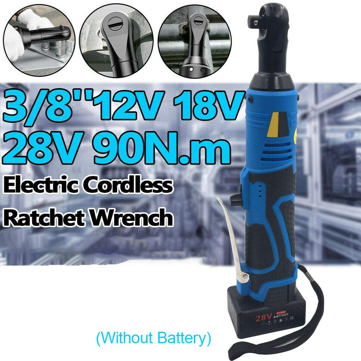 Electric Cordless Ratchet Wrench Right Angle Tool Ratchet 90 Degree Right Angle Large Torque Capacity Wrench 12V/18V/28V