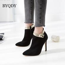 BYQDY Fashion Flock Woman Zipper Autumn Boots Winter Short Ankle Booties Pointed Toe Thin High Heels bota feminina Solid