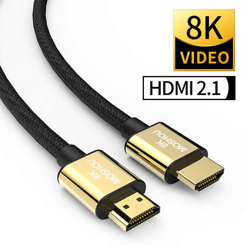 Cabo HDMI 2.1 K 60 8Hz 4K 120Hz 48Gbps ARC MOSHOU Cabo para Amplificador de Vídeo HDR TV PS4 NS Projetor de Alta Definição
