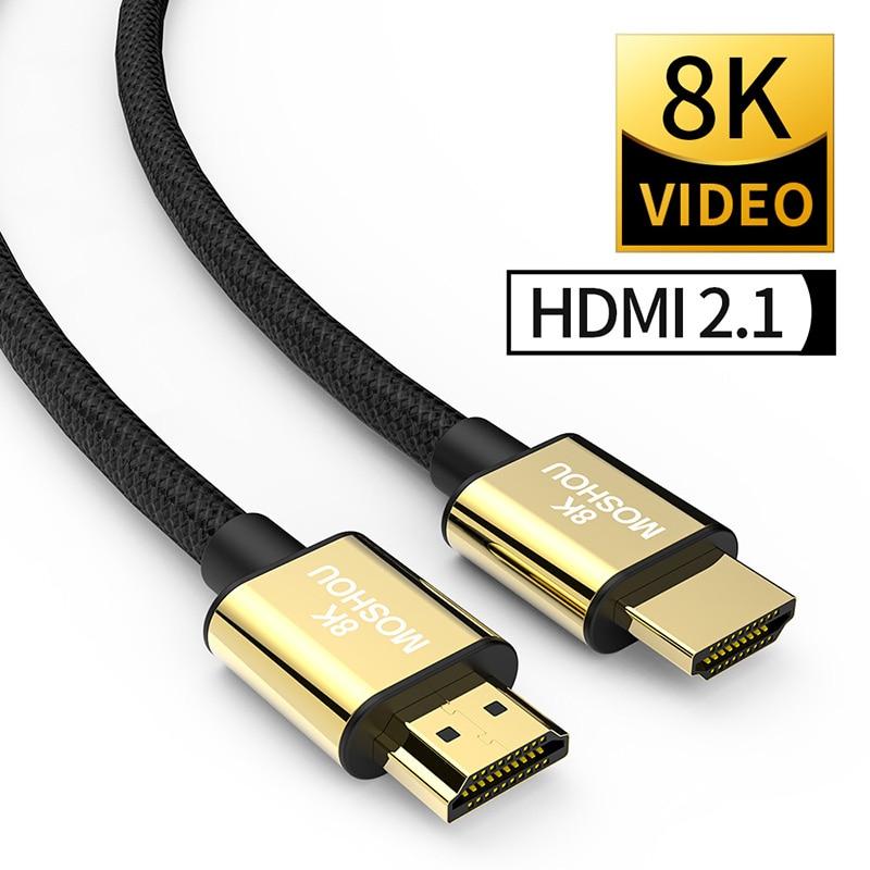 HDMI 2.1 kabel 8K 60Hz 4K 120Hz 48 gb/s łuku MOSHOU wideo HDR przewód do wzmacniacza telewizor z dostępem do kanałów PS4 NS żarówka jak o wysokiej rozdzielczości