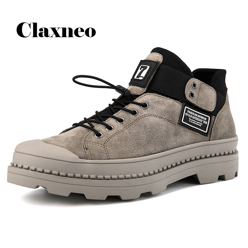 CLAXNEO Men Boots Fashion Suede Leather Male Casual Shoe Clax Men's Leather Shoe Ankle Boot Big Size