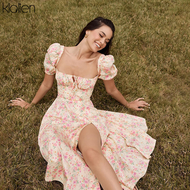 summer fashion elegant print Slit maxi dress  french romantic  2