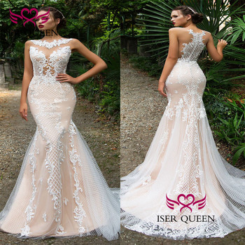 Delicate Embroidery Wedding Dress 2020 New Court Train Mermaid Wedding Dresses Champagne Illusion Unique Back Design Sexy w0587