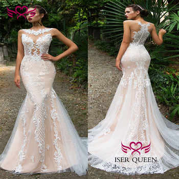 Delicate Embroidery Wedding Dress 2020 New Court Train Mermaid Wedding Dresses Champagne Illusion Unique Back Design Sexy w0587 - DISCOUNT ITEM  25 OFF Weddings & Events
