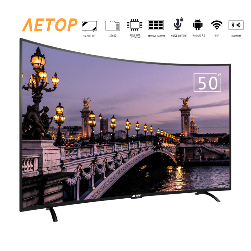 Free shipping- Hot sale 50 inch television android smart tv 4k hd led curve tv with bluetooth