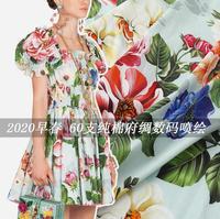 2020 Digital painting Green lake pure cotton fabric for summer dress шитье ткань telas tissu coton tissus tela sewing stof DIY