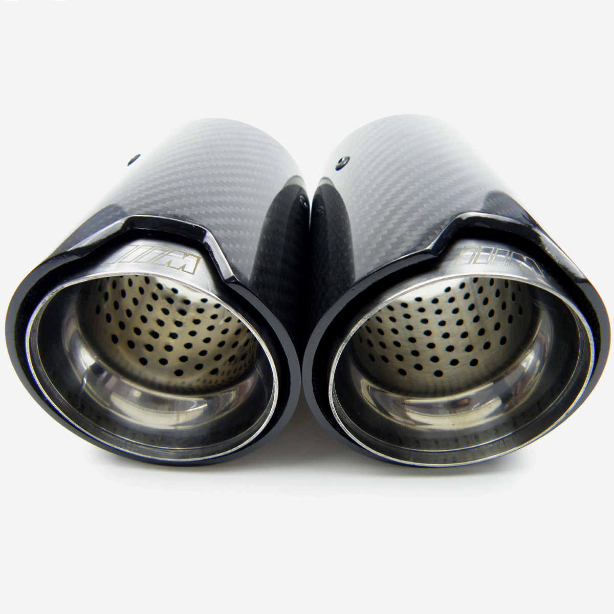 1pcs Universal M LOGO Carbon Fiber Exhaust tips For Performance Car 4