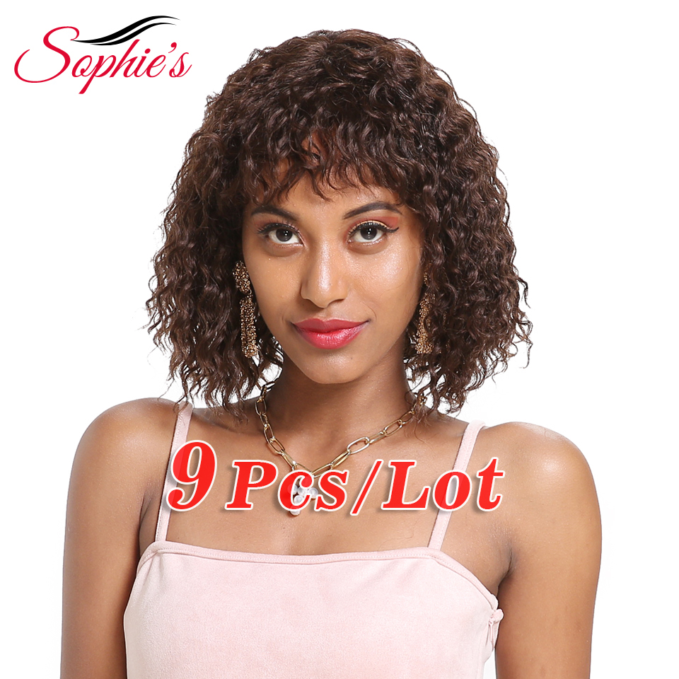 Sophie's Brazilian M-Ratio Bang Human Hair Wigs With Baby Hair Water Wave Human Hair Wigs 4# Bob Wig Human Hair Wigs For Women