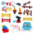 Большие строительные блоки принцесса Лошадь автомобиль пушка забор сборные игрушки для детей Совместимые с кирпичами наборы кирпичей детс...