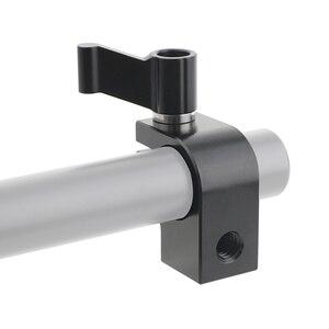 Image 2 - Kayulin Stecker Adapter 15mm Rod Clamp Einstellbare Schwarz Ratsche Wingnut mit 1/4 20 Gewinde Löcher Für Rig Einzigen