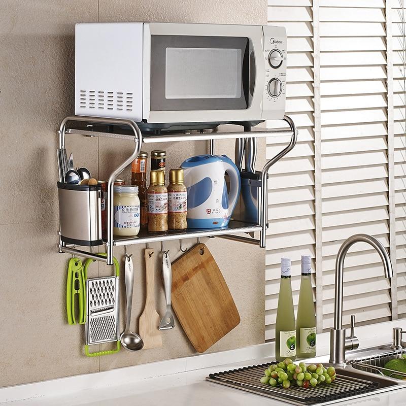 Cross Border For Stainless Steel Microwave Oven Rack Kitchen Wall Hangers Seasoning Storage Hardware Shelf Manufacturers Wholesa