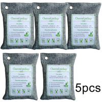 5pcs Bamboo Charcoal Bags Air Purifying Bags 200g Bamboo Charcoal Freshener Purifier Odor Remover