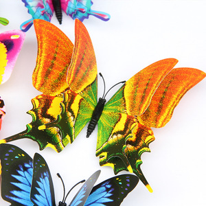 12pcs/set Multicolor Double Layer 3D Butterfly Wall Sticker Magnet PVC Butterflies Party Bedroom Fridge Decoration