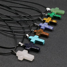 Retro Prayer Jewelry Cross Pendant Necklaces Women Male Real Natural Opal Tiger Eye Quartz Turquoises Stone Pendant Necklaces(China)