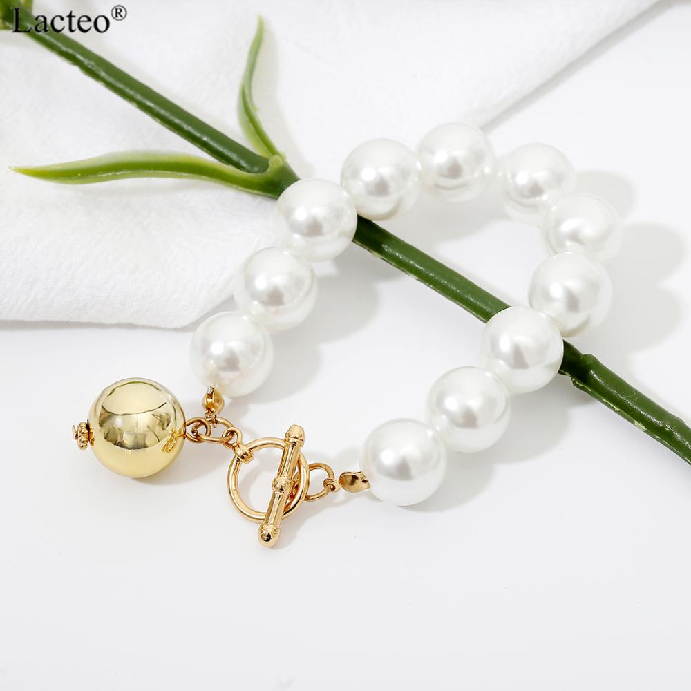 Lacteo Simple Korean Golden Lasso Bracelets Bangles For Women Statement 2019 Imitation Pearl Charm Bracelets Female Jewelry Gift