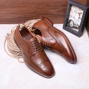 Image 5 - DESAI New Arrivals Light Brown Men Business Dress Shoes Genuine Leather Derby Gentleman Shoes Formal Carved Bullock Brogue