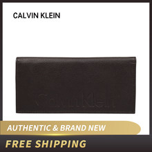 Authentic Original & Brand new Luxury CK Calvin Klein Brown Leather Men long Wallet 79473(China)