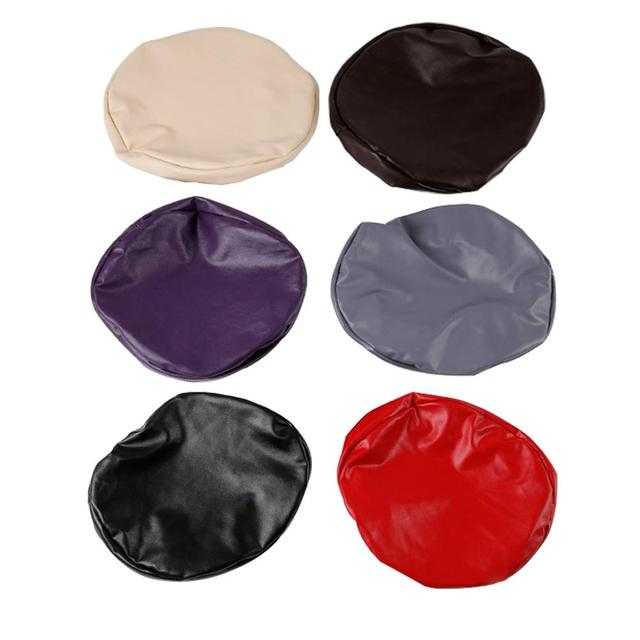 Elastic PU Leather Round Stool Chair Cover Waterproof Pump Chair Protector Bar Beauty Salon Small Round Seat Cushion Sleeve
