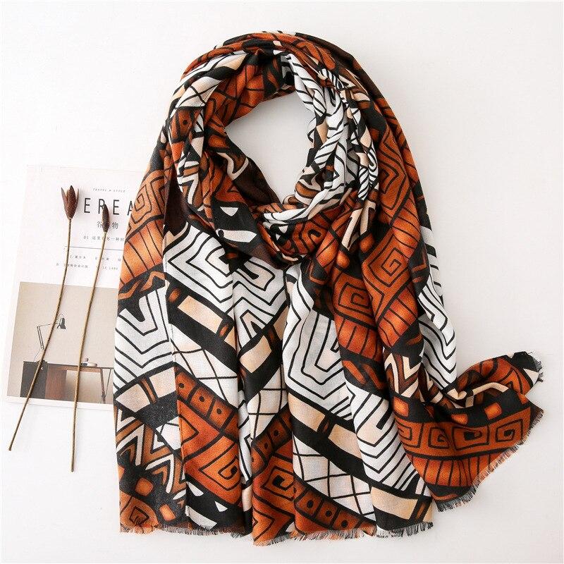 Autumn Winter New Fashion African Ethnic Geometric Viscose Shawl Scarf From Indian Women Print Warm Hijab And Wraps Muslim Sjaal