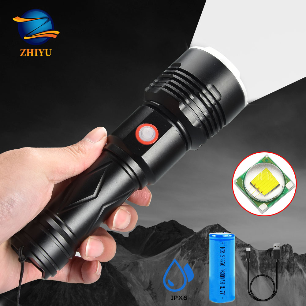 ZHIYU LED Ultra Bright Flashlight P50 High-power Glare Torch Uses 26650 Battery Lasting Life Outdoor Camping Light Tactical Led