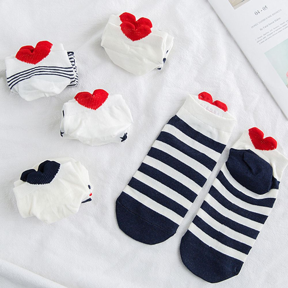 5 Pairs Girls Cotton Ankle   Socks   Red Heart Cartoon Cute Kawaii Short   Sock   Women Sox Hosiery for Gifts Hot Sale Funny Lover   Socks