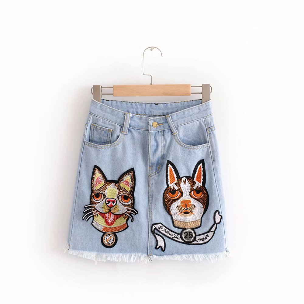 Spring And Summer 2018 New Style Versatile With Belt Short Skirt Dogs And Cats Applique Printed Denim Skirt Women's S8924