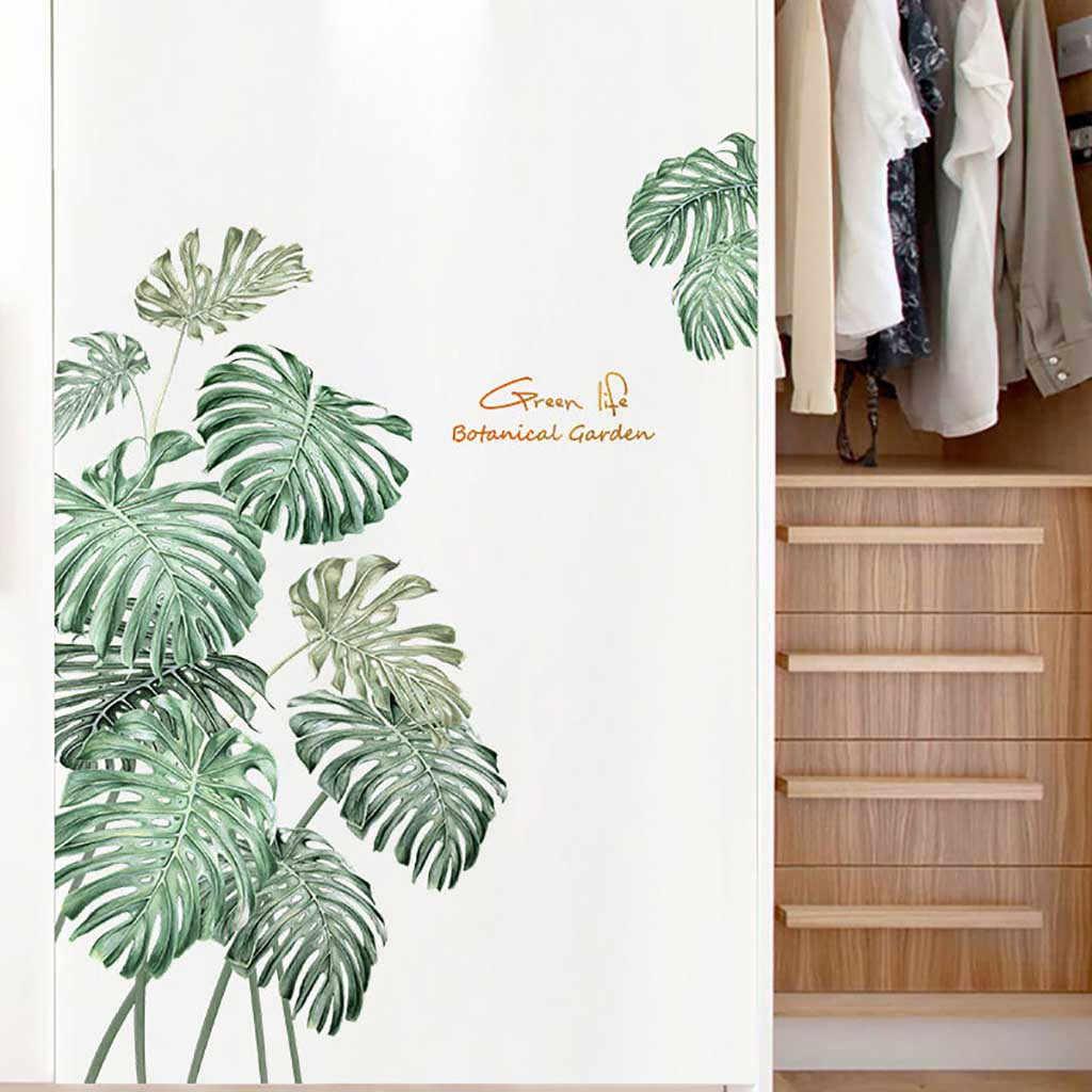 DIY зеленые Стикеры для растений на стену пион розы цветы пляж тропические Пальмовые Листья настенные стикеры s современное искусство Виниловая Наклейка Настенная роспись