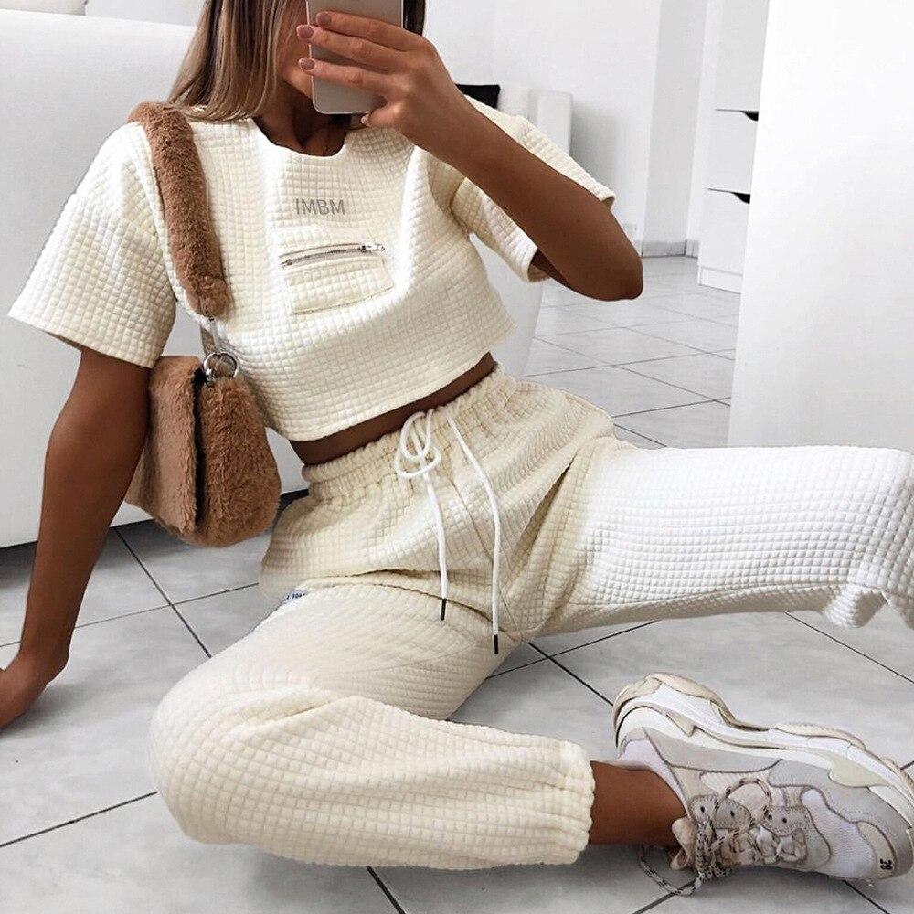 Women Tracksuit Two-piece Suits Solid Patchwork Round Neck Short T Shirt+Long Pants Women Autumn Street Sets