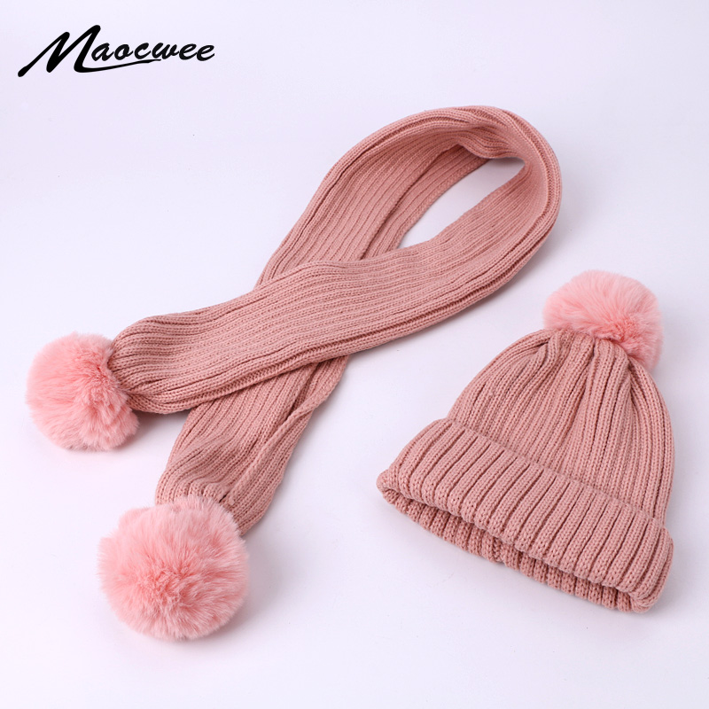 Children Scarf Hat Set Women PomPon Beanies Knitted Skullies Hats Winter Warm Wool Crochet Caps Unisex