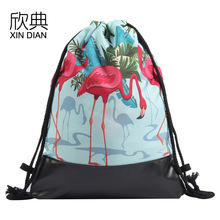 Amazon new PU leather bottom draw string bag printed 2018 flamingo flamingos backpack pocket