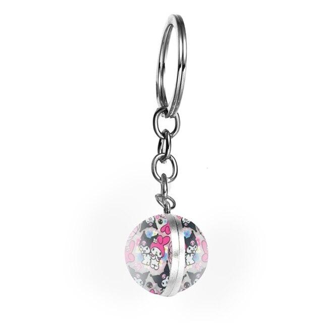 Anime doux enfants ma mélodie Kuromi porte-clés boule de verre pendentif femme porte-clés mignon fille porte-clés téléphone portable/sacs accessoires cadeau