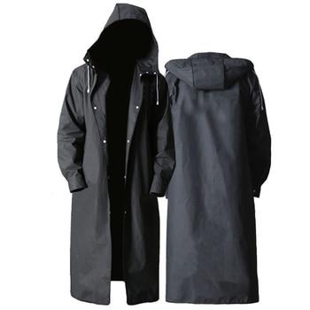 Adult Long Raincoat Men Women Impermeable Rainwear EVA Black Outdoor Hiking Travel Waterproof Hooded Rain Coat Poncho Thickened